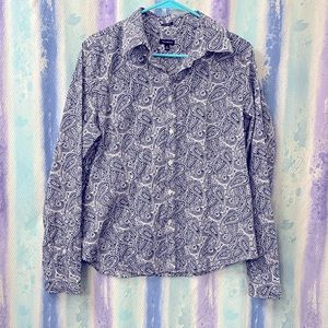 Talbots Paisley wrinkle resistant Buttoned Blouse